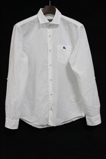 バーバリーブラックレーベル [ BURBERRY ] 2WAY リネン カジュアルシャツ ホワイト 白 長袖 SIZE[2] メンズ バーバリー トップス