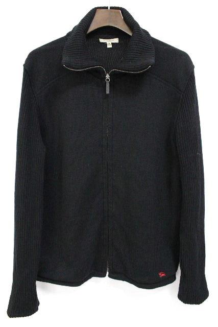 バーバリーロンドン [ Burberry ] ジップアップ ニットセーター ブラック 黒 SIZE[M] メンズ ハイネック チェック柄 バーバリー