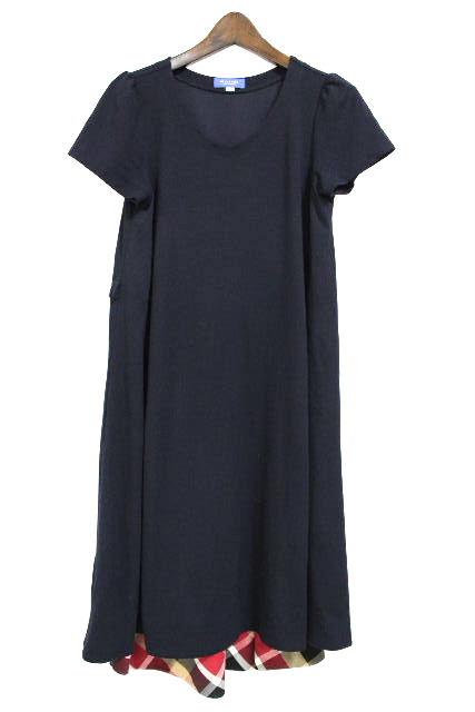 ブルーレーベルクレストブリッジ [ BLUELABEL] リボン フレアー ワンピース ネイビー 紺色 SIZE[36] レディース ブルーレーベル コンビ ワンピ