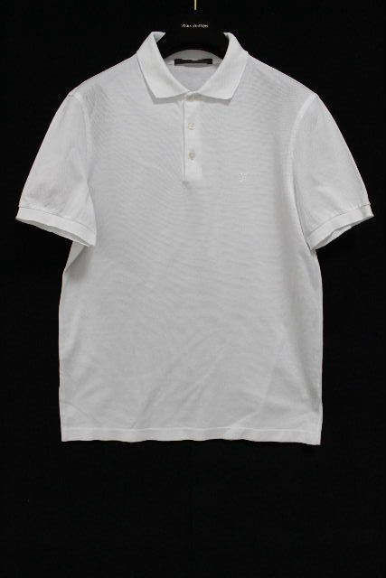 ルイヴィトン [ LOUISVUITTON ] LVロゴ 鹿の子 ポロシャツ ホワイト 白 半袖 SIZE[S] メンズ トップス ヴィトン ビトン カットソー