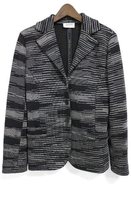ミッソーニ [ MISSONI ] ジグザグ柄 ニット テーラードジャケット 黒 SIZE[44] レディース コート ブラック