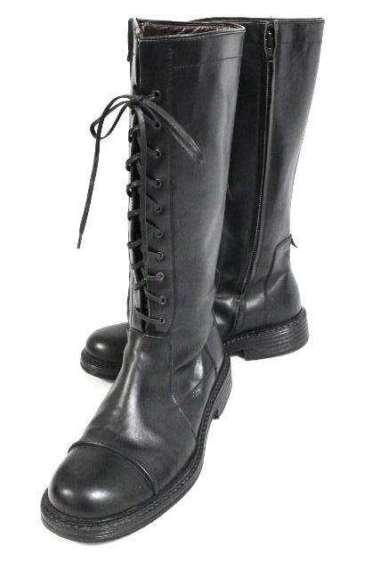 ジャンニヴェルサーチ [ VERSACE ] メドゥーサ レザー 編み上げ ブーツ ブラック 黒 SIZE[6] メンズ ベルサーチ シューズ 靴