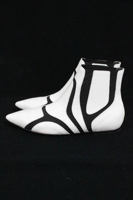 バレンシアガ [ BALENCIAGA ] バイカラー ポインテッドトゥ サイドゴアブーツ SIZE[36.5] レディース ショートブーツ 白 黒