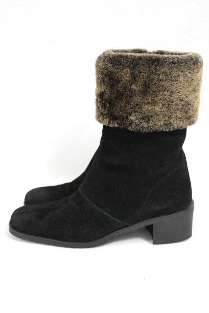 フェラガモ [ Ferragamo ] スエード ファー ブーツ ブラック 黒 SIZE[7.5B] レディース ショートブーツ