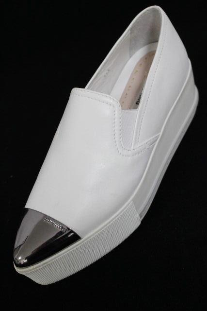 ミュウミュウ [ miumiu ] プラットフォーム 厚底 スニーカー ホワイト 白 SIZE[34.5] レディース スリップオンシューズ フラットシューズ