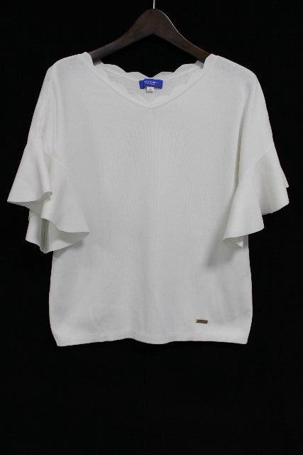 ブルーレーベルクレストブリッジ [ BLUELABEL] ペプラム フリル カットソー ホワイト 白 SIZE[38] レディース トップス ニット セーター 半袖