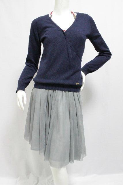 ブルーレーベルクレストブリッジ [ BLUELABEL] 重ね着 リボン ニット カットソー ネイビー 紺色 SIZE[38] レディース ブルーレーベル セーター
