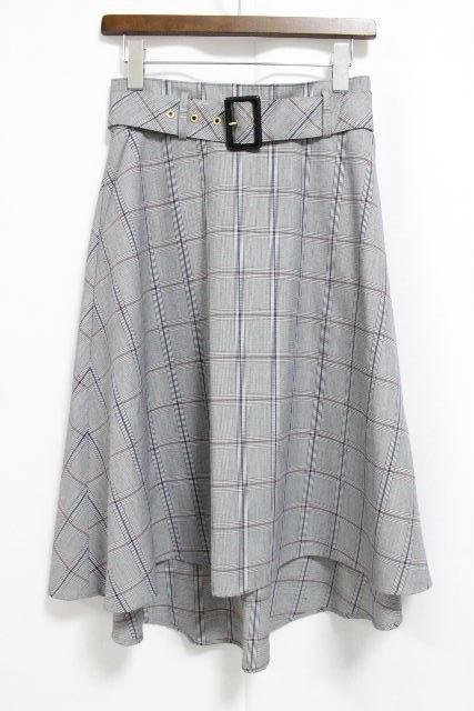 ブルーレーベルクレストブリッジ [ BLUELABEL] ベルト チェック柄 イレギュラーヘムスカート SIZE[36] レディース ブルーレーベル フレアースカート