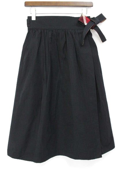 ブルーレーベルクレストブリッジ [ BLUELABEL] リボン ロングスカート 紺×チェック柄 SIZE[38] ボトムス フレアースカート ブルーレーベル スカート