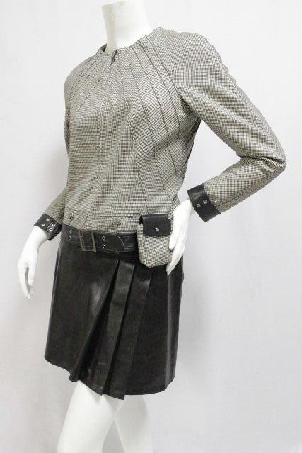 クリスチャンディオール [ Christian Dior ] ポーチ付 格子柄 セットアップ ブラック 黒 レディース ディオール ノーカラージャケット レザースカート