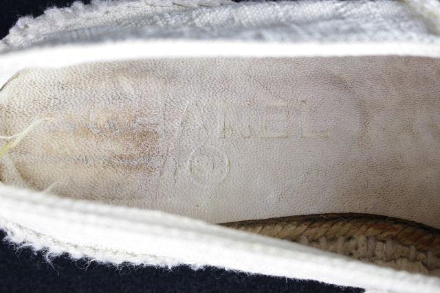 シャネル [ CHANEL ] 14C エスパドリーユ ホワイト 白 SIZE[38] レディース フラットシューズ スニーカー サンダル