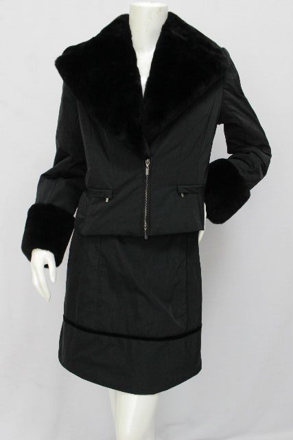 フォクシー [ FOXEY ] ヌートリアファー セットアップ スーツ ブラック 黒 SIZE[40] レディース 中綿 ダウン ジャケット スカート