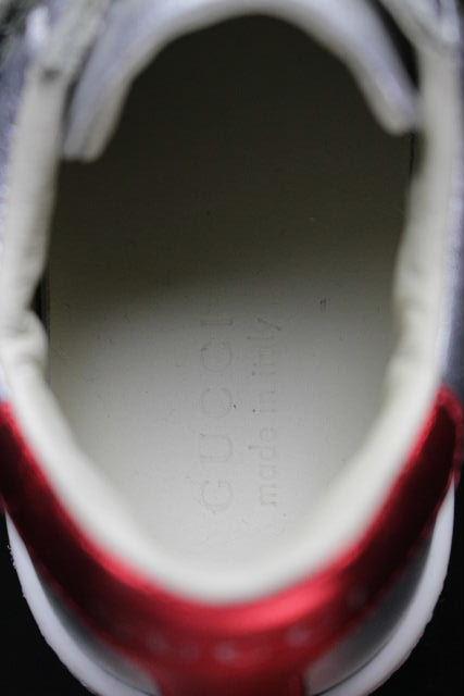 グッチ [ GUCCI ] シェリーライン レザー スニーカー シルバー SIZE[23] キッズ 子供用 ベビー靴 ベビーシューズ