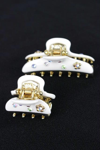 アッカ [ acca ] エイミークリップ ホワイト 白[小・中] 2個セット ヘアクリップ ヘアアクセ ヘアアクセサリー フラワー 花
