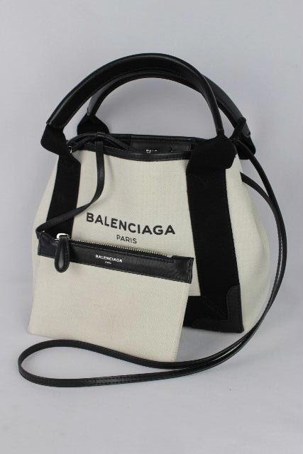 バレンシアガ [ BALENCIAGA ] ネイビーカバ 白×黒 390346 SIZE[XS] 2WAYバッグ ハンドバッグ ショルダーバッグ