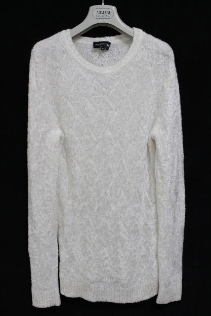 エンポリオアルマーニ [ ARMANI ] もこもこ ニット セーター ホワイト 白 長袖 SIZE[46] メンズ トップス アルマーニ