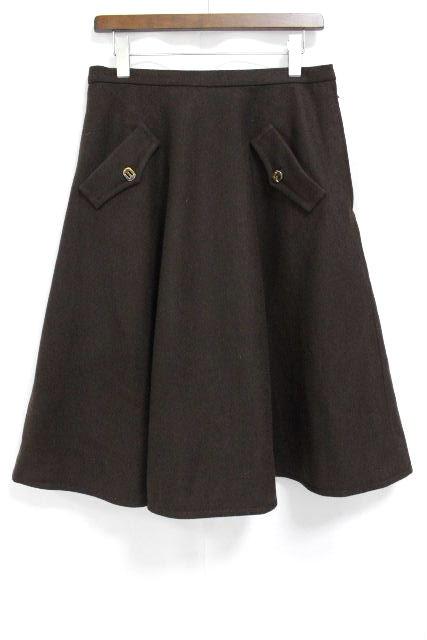 フェラガモ [ Ferragamo ] フレアースカート ブラウン 茶色 SIZE[48] レディース ボトムス ウールスカート スカート