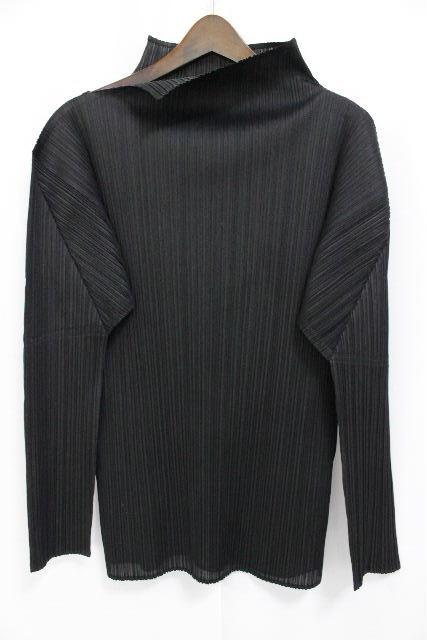 イッセイミヤケ プリーツプリーズ [ PLEATS PLEASE ] ハイネック系 カットソー ブラック 黒 長袖 SIZE[3] レディース トップス