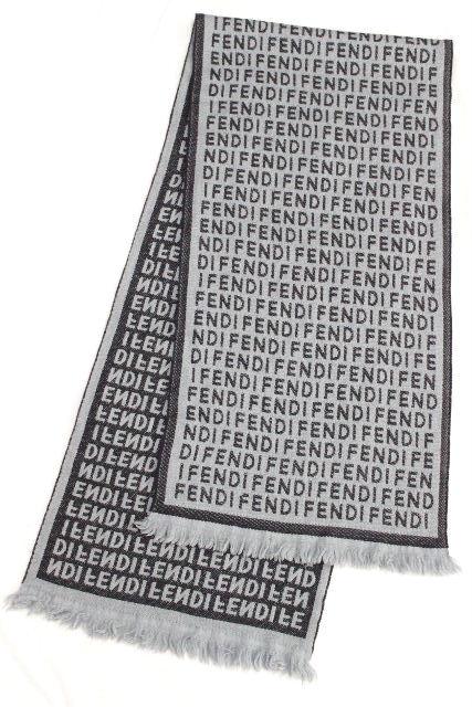 フェンディ [ FENDI ] ロゴ ウールマフラー ブルー メンズ レディース ユニセックス