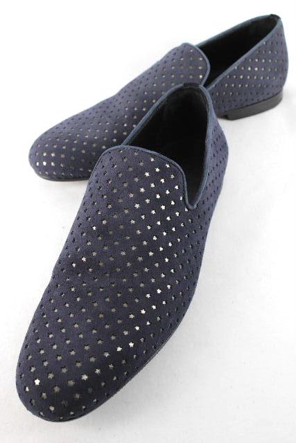 ジミーチュウ [ JIMMY CHOO ] スエード スター スリッポンシューズ 紺色 SIZE[42] メンズ ローファー スリップオン シューズ 靴 星