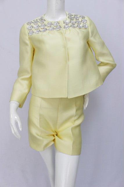プラダ [ PRADA ] ビジュー セットアップ スーツ イエロー SIZE[36 38] レディース ノーカラージャケット パンツ