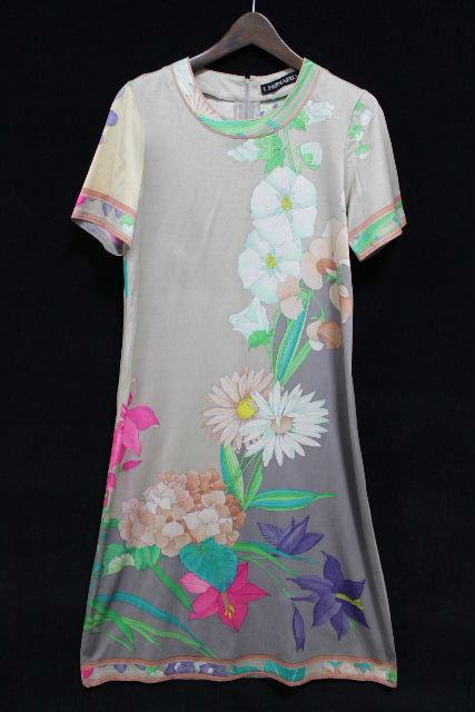 レオナール [ LEONARD ] フラワー ベルト ワンピース ベージュ系 レディース ワンピ 花柄