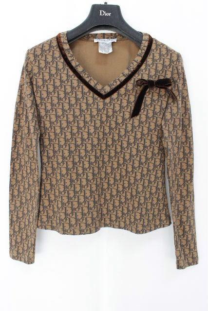 クリスチャンディオール [ Dior ] トロッター柄 リボン カットソー ブラウン 長袖 レディース ディオール Tシャツ