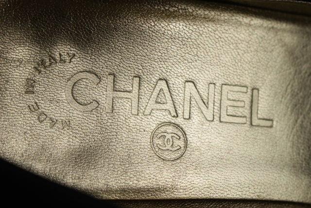 シャネル [ CHANEL ] サテン リボン パンプス ブラック 黒 SIZE[38] レディース シューズ ローヒール