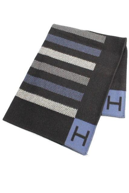 エルメス [ HERMES ] アヴァロン ブランケット ウール カシミヤ ブルー[135×170] インテリア 毛布 大判