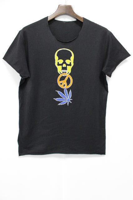 ルシアンペラフィネ [ lucien pellat-finet ] ★黒タグ イタリア製★ ピース スカル カットソー黒 SIZE[S] メンズ ペラフィネ トップス Tシャツ ブラック 半袖