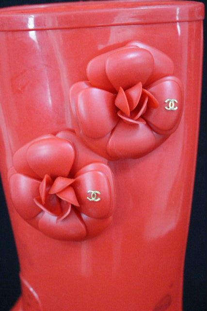 シャネル [ CHANEL ] カメリア レインブーツ レッド 赤 SIZE[37] レディース ロングブーツ 長靴 雨靴