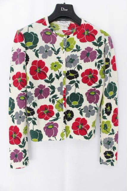 クリスチャンディオール [ Dior ] カシミヤ フラワー カーディガン ホワイト 白 長袖 レディース ディオール トップス カーデ 花柄