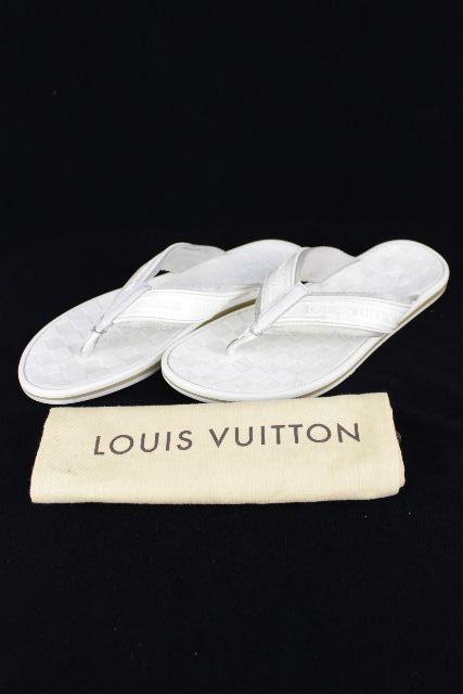 ルイヴィトン [ LOUISVUITTON ] ダミエ ラバーサンダル ホワイト 白 SIZE[8] メンズ ビーチサンダル ビーサン [26.5cm 27cm 27.5cm]