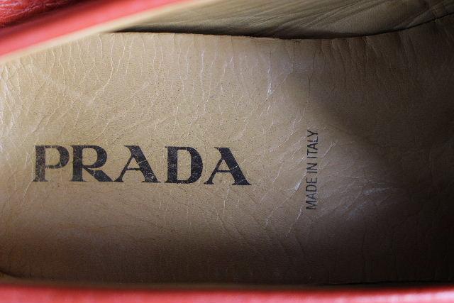 プラダ [ PRADA ] レザー ドライヴィングシューズ レッド 赤 SIZE[10] メンズ スリップオン ローファー ドライブシューズ  スリップオン