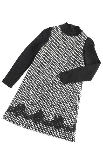 ドルチェ&ガッバーナ [ DOLCE&GABBANA ] レース ツイードニット ワンピース ブラック 黒 SIZE[9/10] キッズ 子供用 女の子 ドルガバ セーター ワンピ