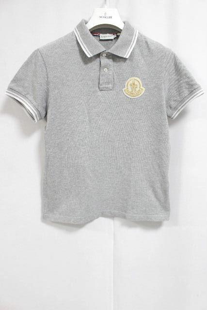 モンクレール [ MONCLER ] トリコロール デカワッペン ポロシャツ 半袖 グレー SIZE[M] レディース トップス カットソー