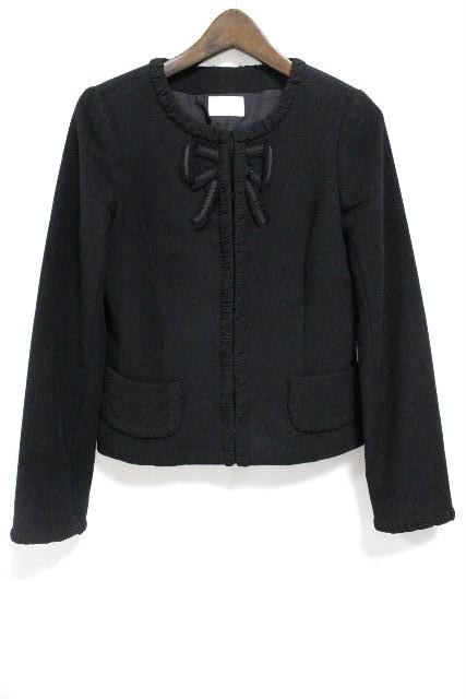 ハロッズ [ Harrods ] リボン ノーカラー ジャケット ブラック 黒 長袖 SIZE[2] レディース トップス アウター