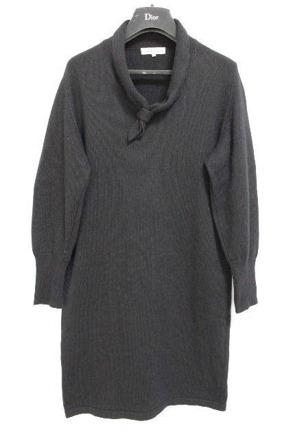 クリスチャンディオール [ Christian Dior ] リボン ニット ワンピース ブラック 黒 SIZE[M] レディース ディオール ワンピ ロングニット チュニック