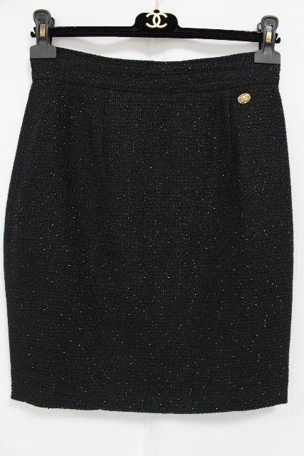 シャネル [ CHANEL ] P40 ラメ ココマーク ツイード タイトスカート SIZE[38] レディース ボトムス スカート ブラック 黒