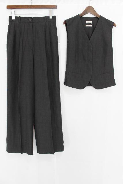 エルメス [ HERMES ] マルジェラ期 ウール セットアップ スーツ グレー SIZE[38] レディース ジレ ベスト ワイドパンツ