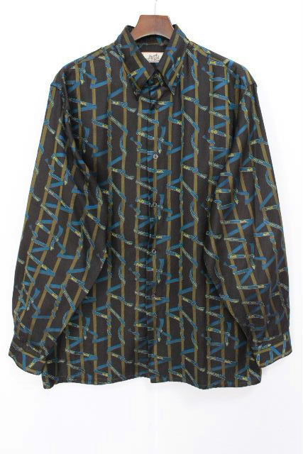 エルメス [ HERMES ] ヴィンテージ セリエ リボン柄 シャツジャケットSIZE[42] メンズ トップス ボタンダウン カーキ系 長袖