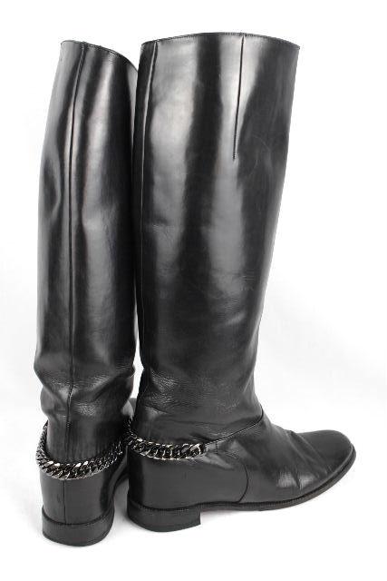 クリスチャンルブタン [ Louboutin ] チェーン レザー ロングブーツ ブラック黒 SIZE[38] レディース ルブタン ブーツ