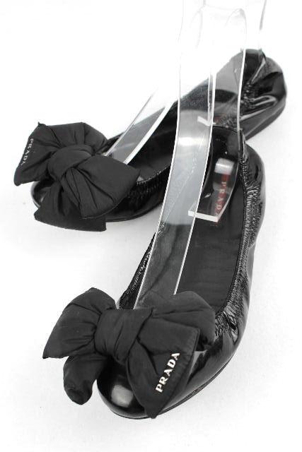 プラダスポーツ [ PRADA ] リボン バレエシューズ ブラック 黒 SIZE[37] レディース プラダ フラットシューズ バレーシューズ