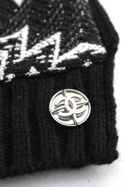 シャネル [ CHANEL ] 4way カシミヤ混 リバーシブル ニット ポンチョ ブラック 黒 アウター マフラー ケープ セーター