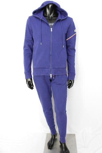 モンクレール [ MONCLER ] トリコロール セットアップ ジャージ ブルー SIZE[L M] メンズ スウェット パーカー パンツ