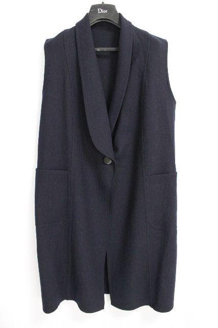 クリスチャンディオール [ Dior ] ウール ロングジャケット ネイビー 紺色 SIZE[9] レディース ディオール ベスト ジレ
