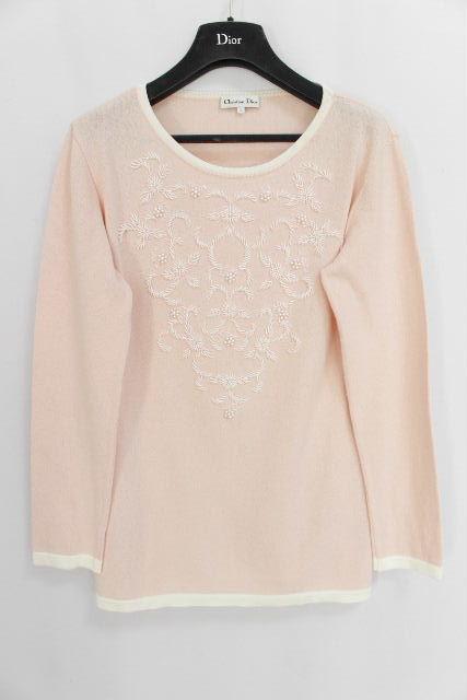 クリスチャンディオール [ Dior ] ビーズ バイカラー プルオーバー ニット ピンク SIZE[L] レディース ディオール カットソー