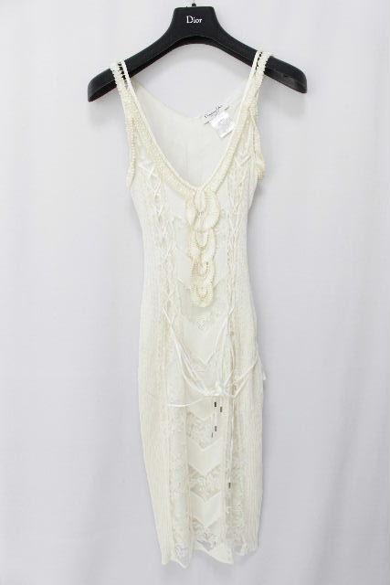 クリスチャンディオール [ Christian Dior ] レース リボン ワンピース ホワイト 白 レディース ディオール ワンピ