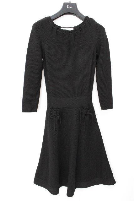 クリスチャンディオール [ Christian Dior ] リボン フレアーワンピース ブラック 黒 レディース ディオール ニットワンピース