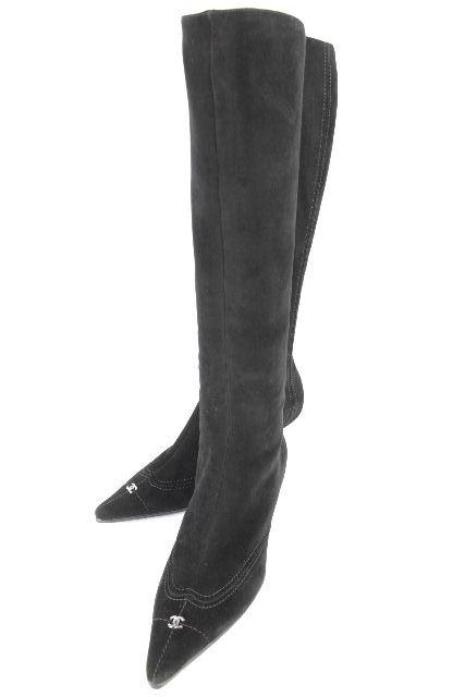 シャネル [ CHANEL ] CC スエード ロングブーツ ブラック 黒 SIZE[35.5 22.5cm] レディース ブーツ ローヒール